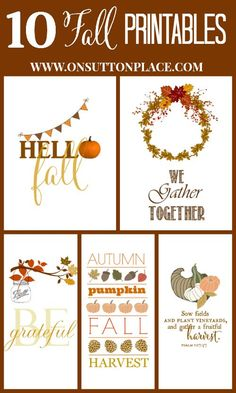 10 Fall Printables | Free and ready to download! | Use for crafts, cards and DIY wall art.