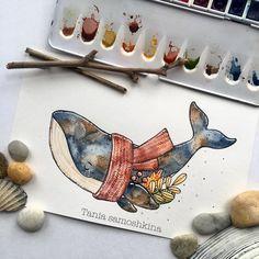 Such a cute and beautiful illustration by . Watercolor Art, Colorful Art, Fall Watercolor, Art Painting, Art Drawings, Cute Art, Whimsical Art, Art, Cute Drawings