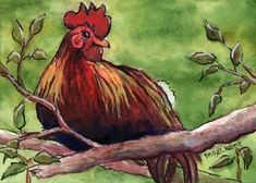 ACEO Original Painting Chicken On Branch bird animal feathers poultry farm tree #Impressionism
