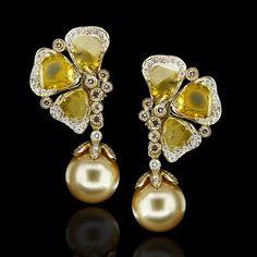 Os Slices de diamantes amarelos ficam ainda mais lindos mesclados com diamantes brown e perolas Golden! Ruth Grieco.