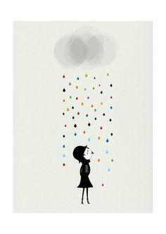 Blanca Gomez Affiche Madame sous la pluie - Blanca Gomez, Mes Habits Chéris - kidstore Récréatif - Décoration enfant
