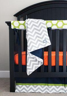 Navy Blue Orange and Grey and Green Custom Crib by GiggleSixBaby