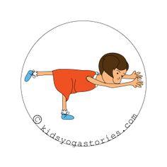 Warrior 3 pose kids yoga stories