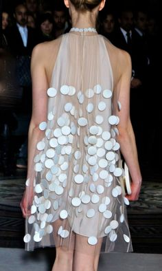Sheer trapeze dress with polka dot applique; fashion details // Stella McCartney