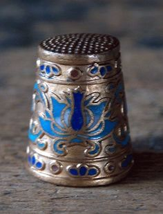Sterling and enamel thimble, c, 1920s