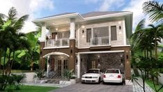 For A Big Family: Large House With 5 Bedrooms And 3 Bathrooms - Cool House Concepts Large House Plans, Two Story House Plans, Two Story Homes, Roof Plan, Ground Floor Plan, Bedroom With Ensuite, Built In Cabinets, Spacious Living Room, Large Homes