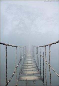 Uhm, no thank you.  I think I will stay on this side.    (via Vietnam. Rope Bridge, photography by Dima...