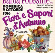 2016 - Fiori e Sapori di Autunno, Autumn Flowers and Flavors, Oct. 9, 9 a.m.-7 p.m., in Badia Polesine (Rovigo), about 39 miles south of Vicenza; local products and crafts exhibit and sale; games and shows for children; face-painting and street artists; stores will be open all day.