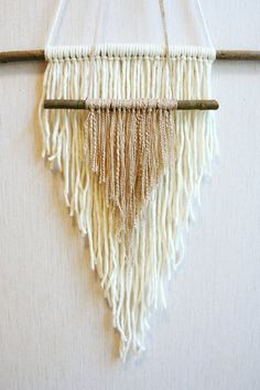 Yarn hanging woven wall weaving bohemian wall by Delekselja