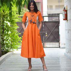 Rust Orange Orange and Beige Embroidered Princess Panel Kurta