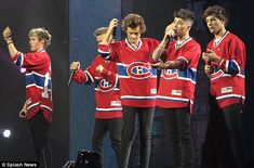 That's the spirit: One Direction thrilled the crowd at their Montreal concert on Thursday night by wearing the Montreal Canadiens ice hockey team jersey