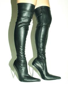 Black eco leather boots with metal heels - pointed toe http://www.obuwie-erotyczne.pl/item.html/id/3823515131