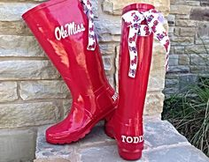 Ole Miss Game Day Rain Boots with Bows by PuddlesNRainBows on Etsy, $92.00
