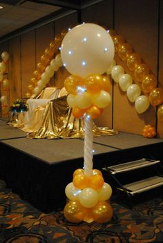 Stage decor with Party Dots on sculpted column by It's My Party in Dyer, IN