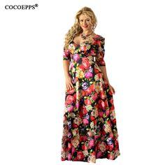 2017 Women sexy Lotus Print 5XL 6XL Plus Size Long floor length Dress Large  size off shoulder Slash neck Maxi Dresses clothes bd196c028008