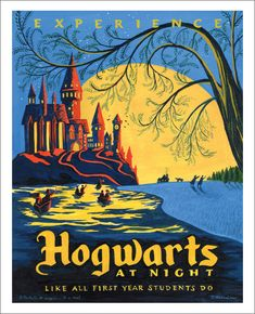 Hogwarts at Night by artist Caroline Hadilaksono, part of the Harry Potter Tribute Exhibition at Gallery Nucleus.
