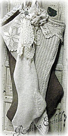 Knitted and Burlap Stockings