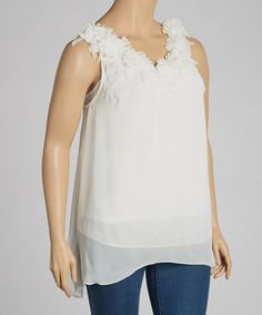 Take a look at this Ivory Ruffle Sleeveless Top - Plus by Simply Irresistible on #zulily today!