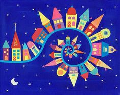 Colorful Town --- Caroline Rose Art - Twisty Twirly Town art print This could be my joy to the world or it's a small world banner Auction Projects, Art Auction, Art Projects, Club D'art, Art Club, Arte Elemental, Classe D'art, Ecole Art, House Quilts