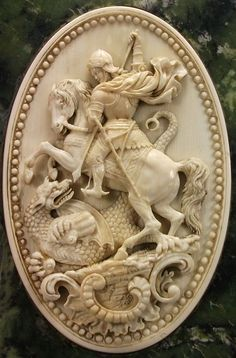 Ivory Cameo of Saint George Slaying the Dragon; Circa Germany, later mounted with a marble frame. Victorian Jewelry, Antique Jewelry, Vintage Jewelry, Silver Jewellery, Saint George And The Dragon, Cameo Jewelry, Ring Verlobung, Hand Carved, Saints