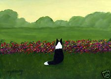 BORDER COLLIE Dog Modern Abstract Folk Art PRINT Todd Young MONET'S GARDEN