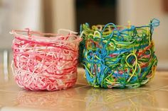 String bowls. Must try it with colorful yard. Good way to use up odds and ends. Paper mache 'glue', dip yard in 'glue' and wrap/knot around a bowl. Leave to set, before dry, remove from 'mold' and let dry completely. Have made round balls over balloons and bulbs, burst/break and voila!