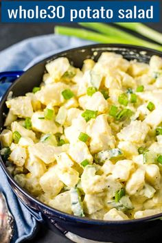 A Potato Salad that will help you keep your healthy eating goals during the summer picnic season. It's creamy, homemade seasoned mayo dressing boosts this healthy potato salad's flavor. Potato Side Dishes, Best Side Dishes, Healthy Side Dishes, Side Dish Recipes, Potato Salad Recipe Easy, Potato Recipes, Whole 30 Potatoes, Clean Eating Recipes, Healthy Eating