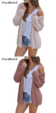 3cc3c11340 Women coat winter long sleeve oversized loose knitted jumper cardigan  outwear coats hooded women clothes n30