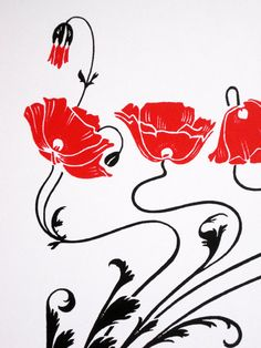 Art Nouveau  Red Poppies  limited edition screenprint by NigelDK, £25.00