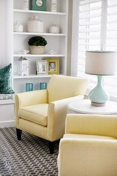 House of Turquoise: Highland Custom Homes. Yellow chairs Gray rug