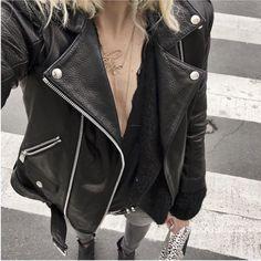 #AudreyLombard wearing #ANINEBING #CroppedLeatherJacket | @aninebing