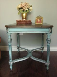 Love the rustic Teal...great website for furniture makeover ideas