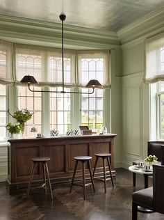 Pale lime green walls in home bar with marble top, dark wood cabinetry, and industrial light fixture