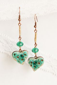 Heart earrings #beads #fashionaccessories #jewellery #handmade #etsy