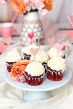 Don't miss this sweet boho Valentine's day picnic party! The cupcakes are wonderful! See more party ideas and share yours at CatchMyParty.com #catchmyparty #partyideas #valentinesdaycupcakes #valentinesday #valentinesdayparty #picnic #bohoparty
