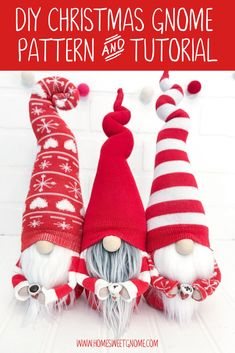 Make your own DIY Christmas gnomes! Make something fun this Christmas with our DIY gnome making patt Christmas Gnome, Christmas Sewing, Christmas Projects, Crafts To Make, Holiday Crafts, Diy Crafts, Christmas Decorations, Christmas Ornaments, Gnome Ornaments