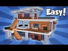 Modern house floor plans sims 3 inspirational minecraft how to build a modern house easy tutorial Minecraft Modern House Blueprints, Plans Minecraft, Minecraft Mansion, Minecraft Houses Survival, Easy Minecraft Houses, Minecraft House Tutorials, Minecraft House Designs, Minecraft Bedroom, Minecraft Tutorial
