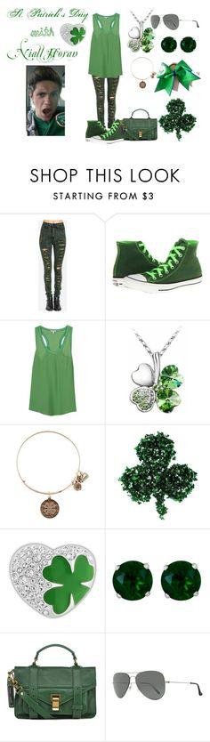 """St. Patrick's Day with Niall Horan"" by games1219 ❤ liked on Polyvore featuring Converse, Joie, CO, Alex and Ani, Swarovski, Reeds Jewelers, Proenza Schouler and Ray-Ban"