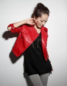Faux red leather jacket.....want!! Only $37...