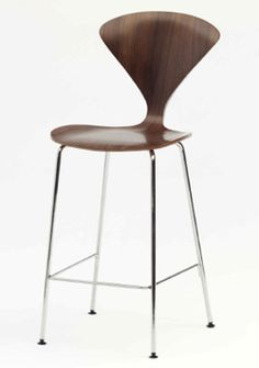 Cherner Stool - Chrome Metal Base - Molded plywood Metal Base Stools are available in bar and counter heights. Counter Stools, Bar Stools, Stacking Chairs, Plywood, Different Colors, Modern Furniture, Chrome, Notes, The Originals