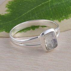 925 STERLING SILVER ANTIQUE RAINBOW MOONSTONE RING 2.21g DJR2400 S-9 #Handmade #Ring