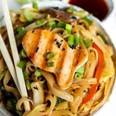 These Ginger Soy Stir Fry Chinese Noodles are a simple homemade way to enjoy your favorite take-out food. Made with fresh, flavorful, wholesome ingredients like vegetables, rice noodles and a sticky soy ginger sauce then topped Veggie Recipes, Asian Recipes, Beef Recipes, Vegetarian Recipes, Chicken Recipes, Cooking Recipes, Healthy Recipes, Ethnic Recipes, Japanese Recipes