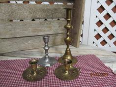 Vintage Hand Etched Brass Finger Thumb Grip Candlesticks India Tall Brass & Smaller Pewter Taper Candle Holders Assortment Lot by EvenTheKitchenSinkOH on Etsy