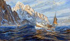 Tidlig morgen på Lofothavet by Karl-Erik Harr Norway, Scandinavian, World, Artists, Painting, Outdoor, Ships, Pictures