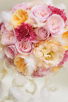lovely bouquet using feathers