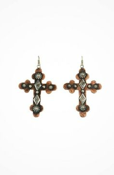 Gypsy SOULE Silver and Copper Hammered Cross Earrings #accessories  #jewelry  #earrings  https://www.heeyy.com/gypsy-soule-silver-and-copper-hammered-cross-earrings-silver-copper/