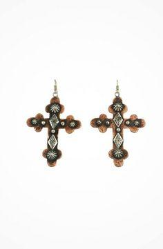 Gypsy SOULE Silver and Copper Hammered Cross Earrings #accessories  #jewelry  #earrings  https://www.heeyy.com/gypsy-soule-silver-and-copper-hammered-cross-earrings-silver-copper/