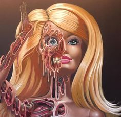 """Stop stop stop and just look  @nychos (words and  via the man himself) : Detail and Show preview of the Barbie Meltdown """"barbieCue"""" -piece. Perfect painting to shout out the skin cancer awareness project @spot.the.dot  by my friends and @rabbiteyemovement_official International PR - Witch Marije!  Go follow!! I will talk about it again on one of my upcoming posts. This will be one of my last preview posts. Come and see the full show #IKON June 25th in New York at @jonathanlevinegallery…"""