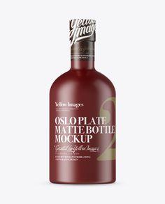 Matte Oslo Plate Bottle w/ Shrink Band Mockup. Preview