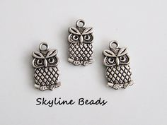 3 Owl Charms / Pendants Antique Silver Color  by SkylineBeads, $1.45